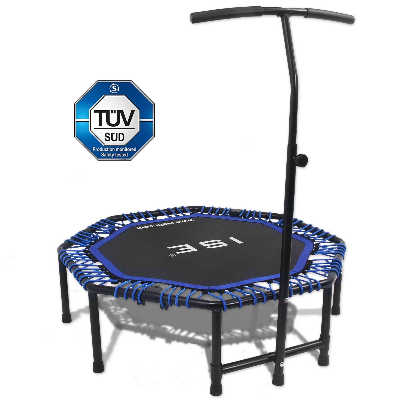 ISE Fitness Trampolin, faltbar Indoortrampoline mit höhenverstellbarer Haltegriff, Ausdauertraining für Erwachsene & Kinder, TÜV-Geprüft, Nutzergewicht bis 120kg
