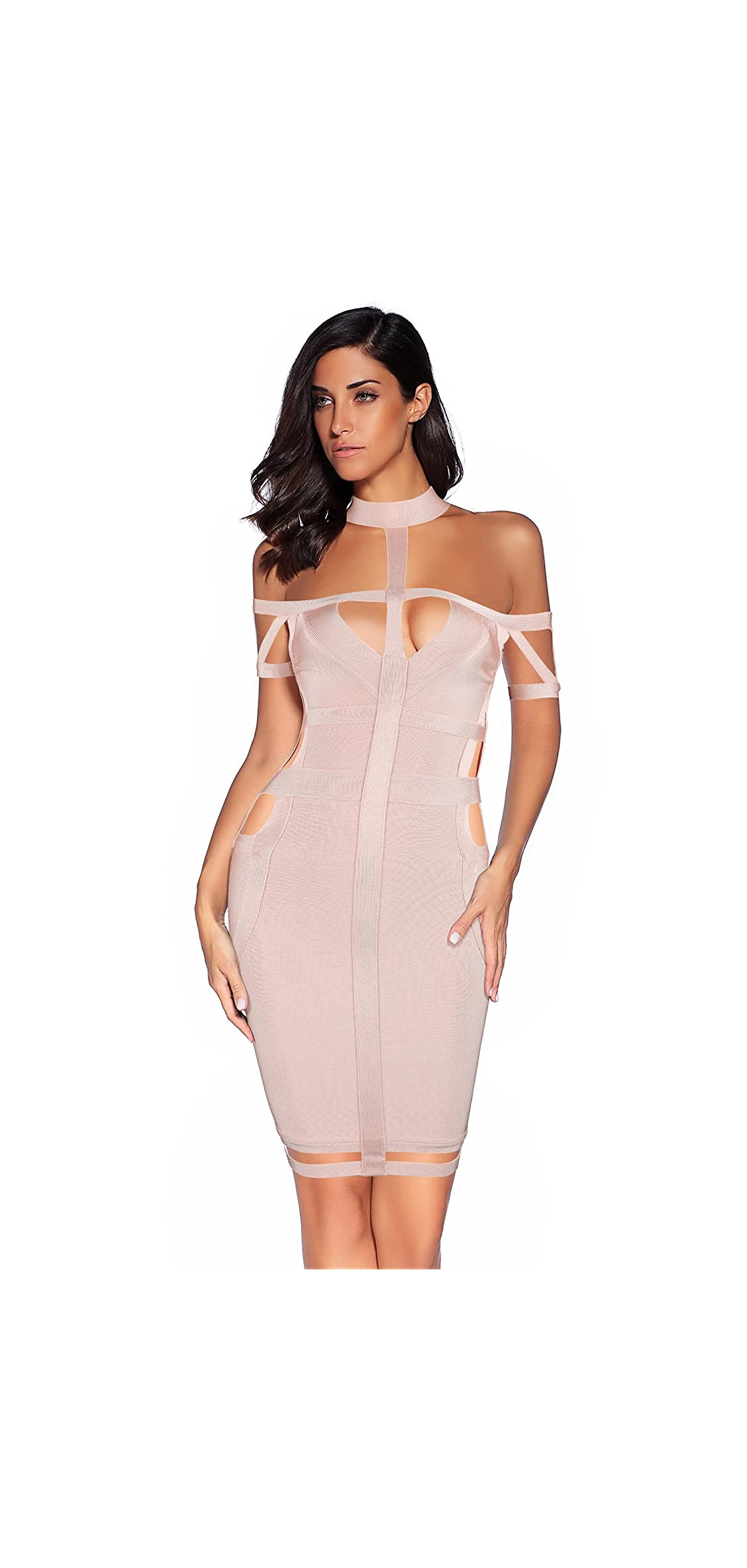 Women Rayon Off The Shoulder Cut Out Bandage Bodycon