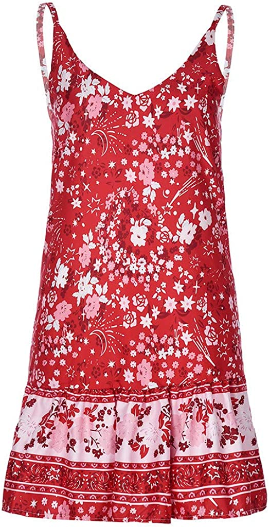 Womens Dresses Sleeveless Bohemian Elegant Dress Floral Party Holiday Beach Mini Dress