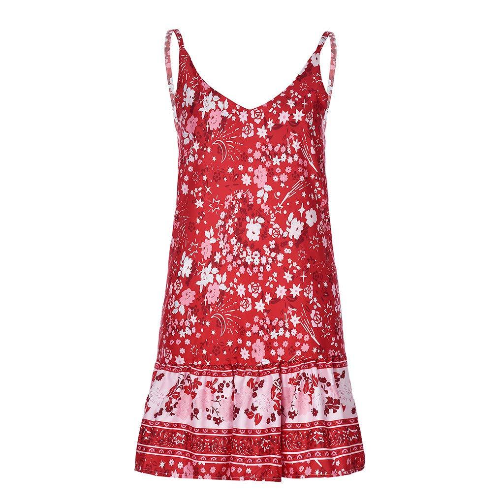 Xiaojmake Women's Sleeveless Floral Print Empire Waist Backless Flowy Boho Mini Tank Dress Red