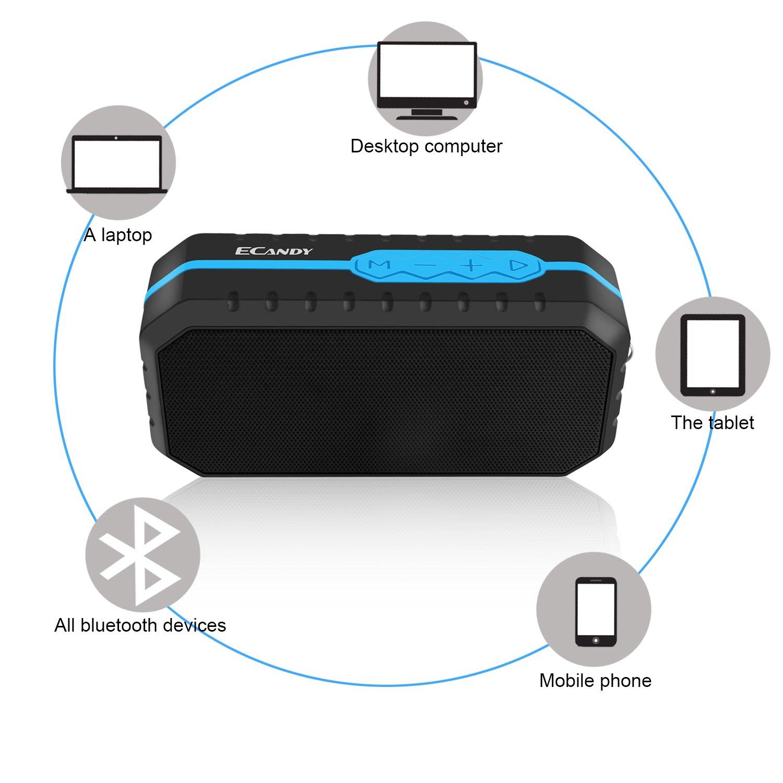 Ecandy Altoparlante Impermeabile Portatile Esterna Speaker Stereo Wireless Waterproof Crashproof Bluetooth 4.0 + EDR 8 Ore di Riproduzione per iPhone e smartphone Android e Tablet PC