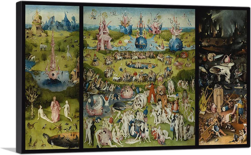 "ARTCANVAS The Garden of Earthly Delights 1515 Canvas Art Print by Hieronymus Bosch - 40"" x 26"" (1.50"" Deep)"