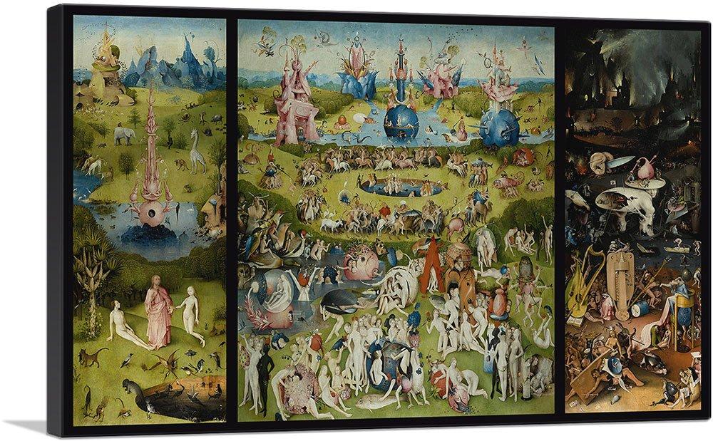 "ARTCANVAS The Garden of Earthly Delights 1515 Canvas Art Print by Hieronymus Bosch - 40"" x 26"" (0.75"" Deep)"