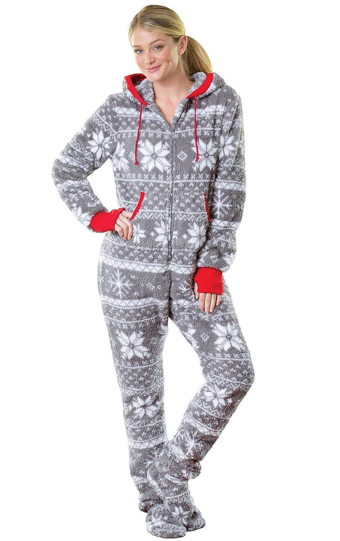 ff99225bf3 Amazon.com  PajamaGram Hoodie-Footie Nordic Fleece Women s Onesie Pajama   Clothing