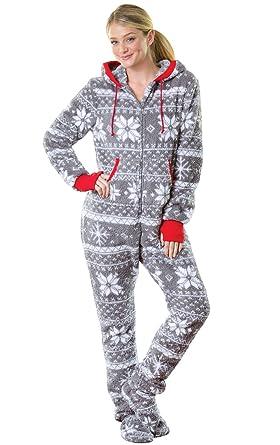 c7ba10a33e Amazon.com  PajamaGram Hoodie-Footie Nordic Fleece Women s Onesie ...
