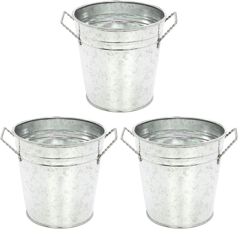 Hosley 3 Pack of Galvanized Planters - 5