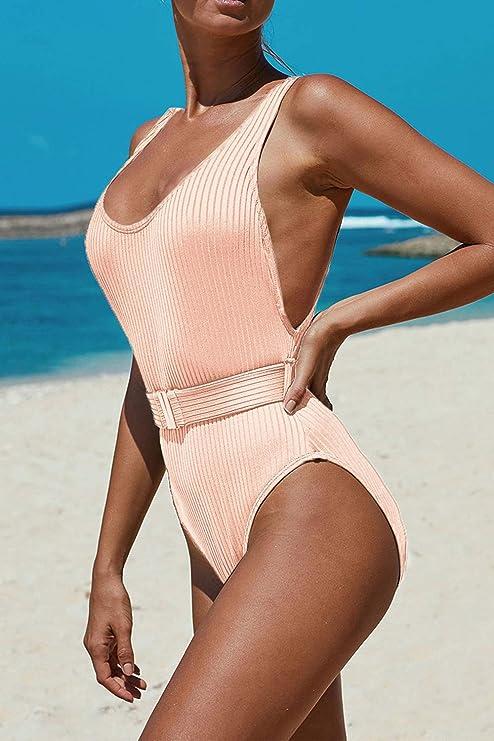 GirlsUpto Women One Piece Athletic Swimsuit Tummy Control Sport Bathing Suit High Cut Backless Swimwear