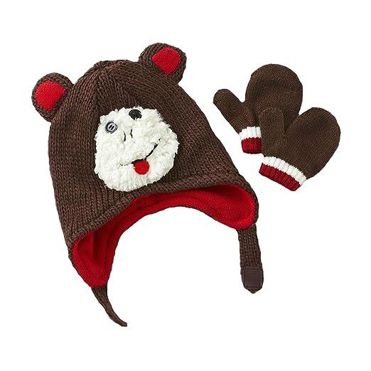 63f5416c694 Amazon.com  Toby N.Y.C. Infant Boy s Winter Hat   Mittens - Chimp ...