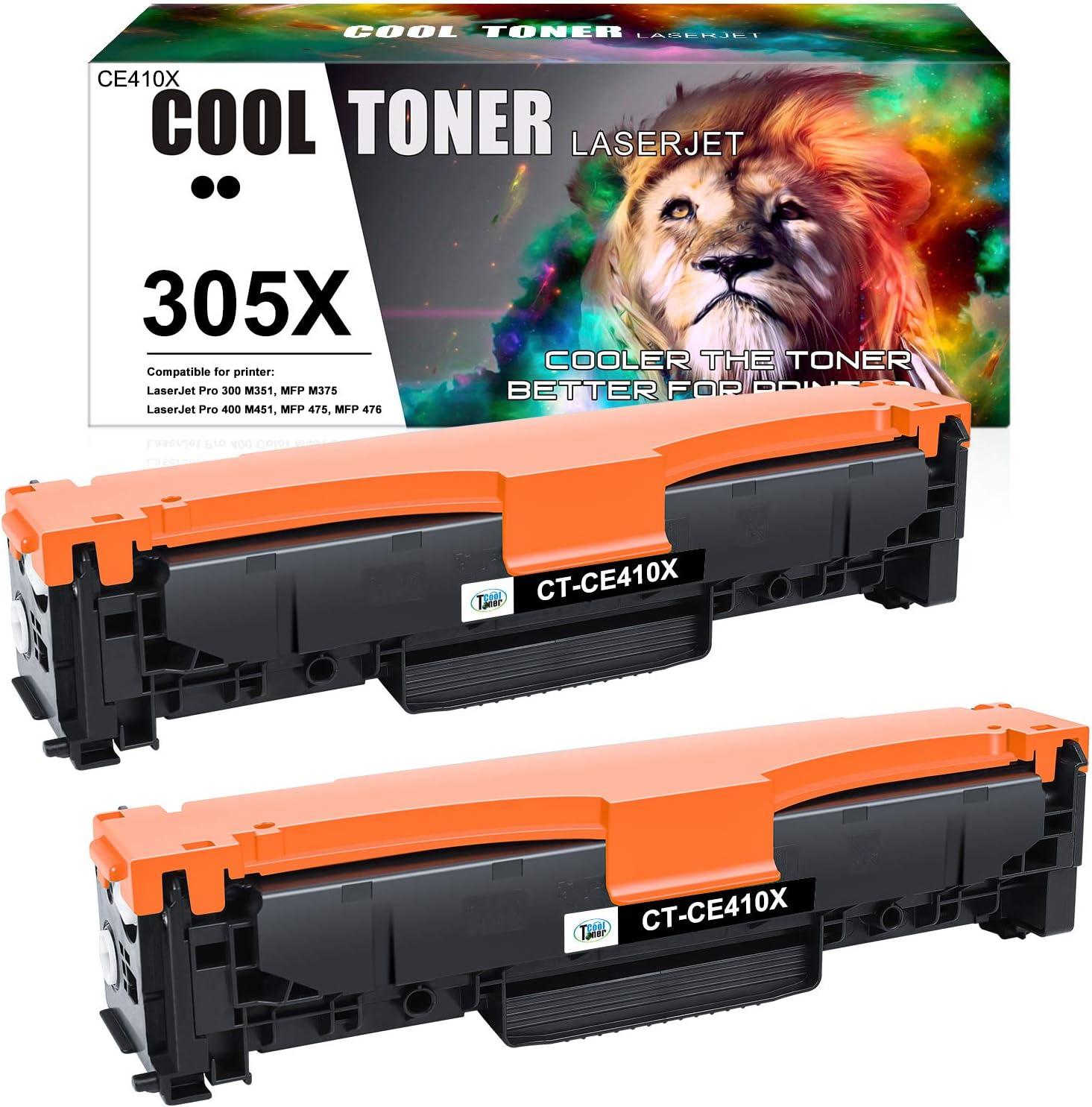 Cool Toner Compatible Toner Cartridge Replacement for HP 305A 305X CE410X CE410A HP Laserjet Pro 400 Color Toner M451dn M451nw M475dn M476nw M476dw M476dn M451dw M375nw M475dw (Black, 2-Pack)