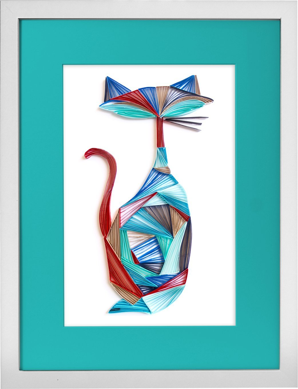 The Cool Cat - Modern Paper Quilled Wall Art for Home Decor (one of a kind paper quilling handcrafted piece made with love by an artist in California)