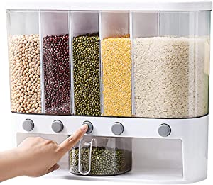 Food Grain Storage Container,Wall-Mounted Rice Storage Tank,Waterproof Moisture-proof Separate Rotating Rice Bucket
