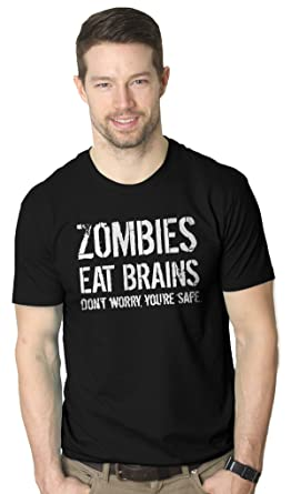 d48e9a14e Mens Zombies Eat Brains Shirt Funny Zombie T Shirts Living Dead Zombie  Outbreak Tees (Black