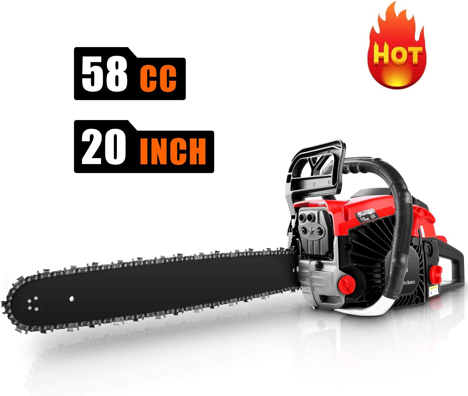"CHAKOR 58CC Chainsaw, 20"" Gas Chainsaw, 2 Strokes 3.5HP Gas Powered Chainsaw, Petrol Chain Saw for Cutting Wood with Tool Kit"