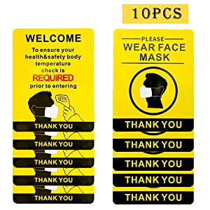 10 Pcs Please Wear Face Mask Sign and Temperature Check Required Sign- 9 × 7 Inch Wear Mask Adhesive Vinyl Notice Sticker for Office Stations Supermarket Wall Window Door