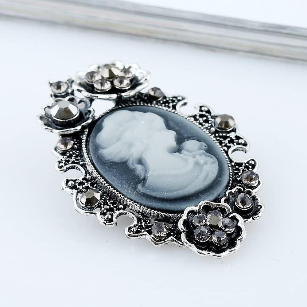 Vintage Retro Style Victorian Lady Cameo Brooch with Crystal Lizzyoftheflowers