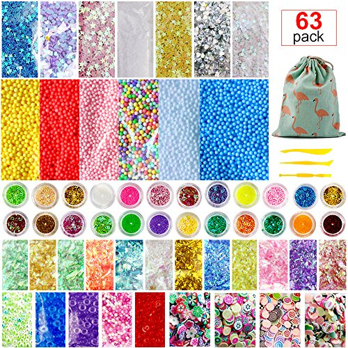 Slime Supplies Kit, 63 Packs Slime Beads Charms Include Floam Beads, Fishbowl Beads, Foam Balls, Glitter, Fruit Slices, Slime Accessories for Slime Party Decorations Slime Making Art DIY Craft by JR.WHITE