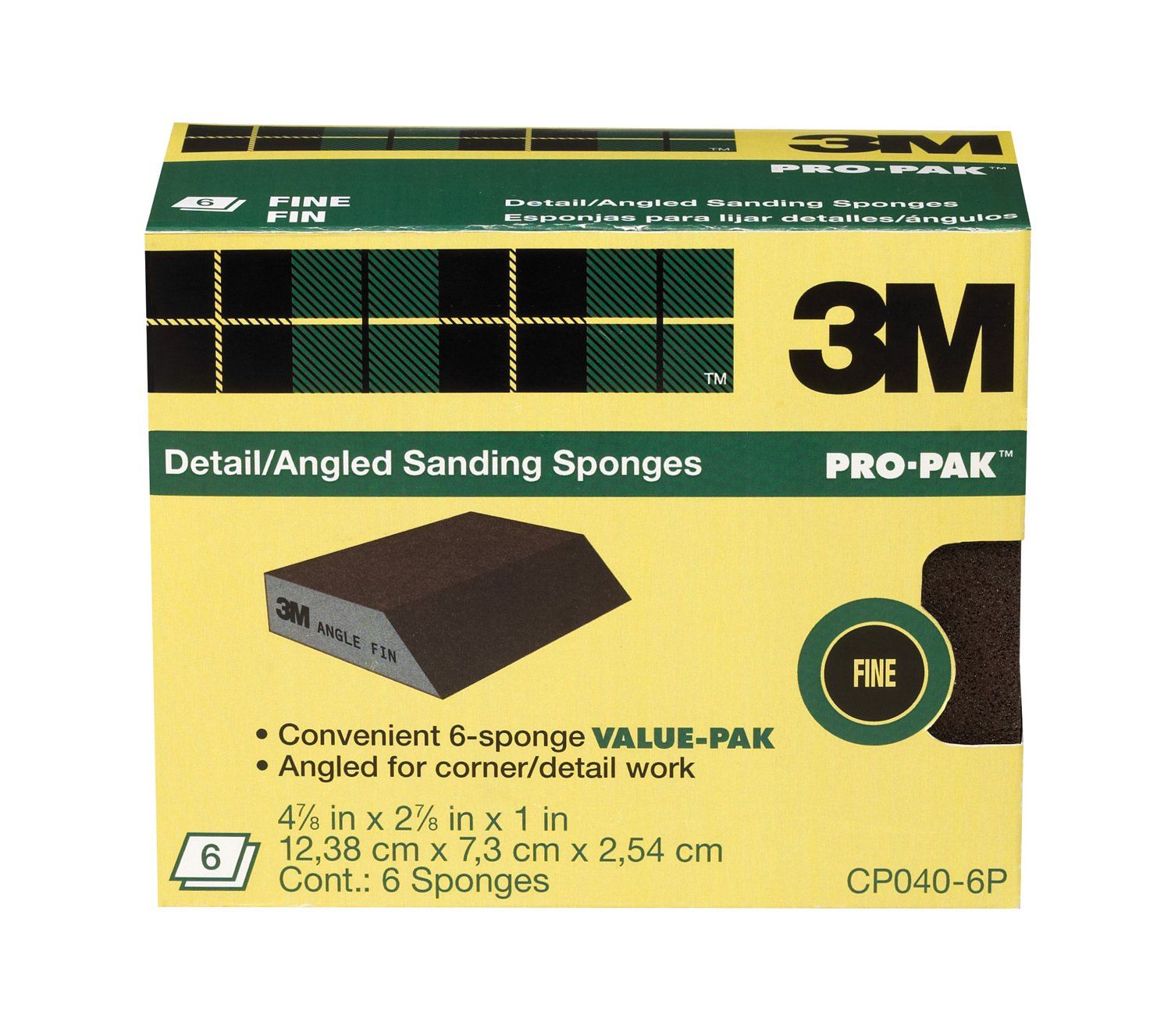 3M Angle Sanding Sponge, 2.875-Inch by 4.875-Inch by 1-Inch by 3M