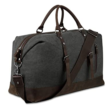 67d6d6379d4b Canvas Overnight Bag Travel Duffel Genuine Leather for Men and Women Weekender  Tote (Dark Grey