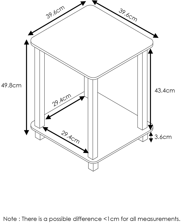 FURINNO Simplistic End Table, Dark Walnut, Small (12127DWN): Office Products