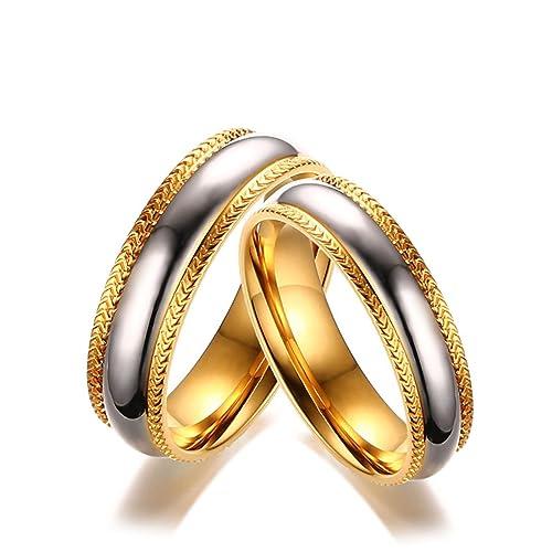 KNSAM - Anillos de amistad de acero inoxidable para él y ella, anillos de oro