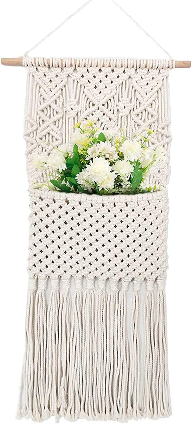 "Boho Macrame Wall Hanging Decor,Cotton Handmade Geometric Art Home Wall Decor,Macrame Magazine Storage Organizer,Woven Wall ArtMacrame Tapestry,Pocket Wall Decor for Apartment Bedroom Nursery (16""Wx 31""L"