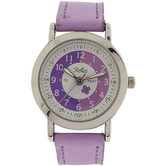 Reflex - Reloj infantil analógico para aprender la hora, correa color rosa y morado: Amazon.es: Relojes