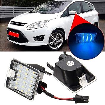 unkebannt Par de Luces LED para Espejo de Lado Inferior para Ford Mondeo MK4 Focus Kuga Escape C-MAX: Amazon.es: Deportes y aire libre
