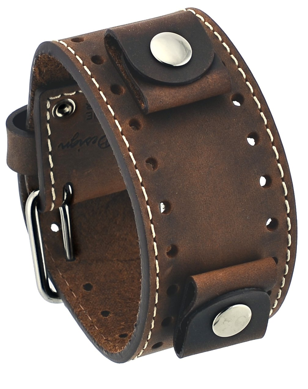 Rev #CHO-TM Crazy Horse Leather 22mm Lug Width Wide Tan Moro Brown Cuff Watch Band