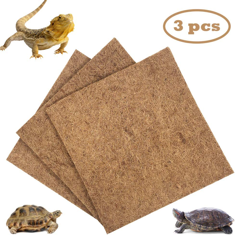 LiMio Reptile Mat Coconut Fiber Bedding, Organic Terrarium Substrate Liner, Soft Carpet for Reptile Terrarium Use for Chameleon Beardie Tortoise, Easy to Clean Carpet for Chameleon(3 Mat)