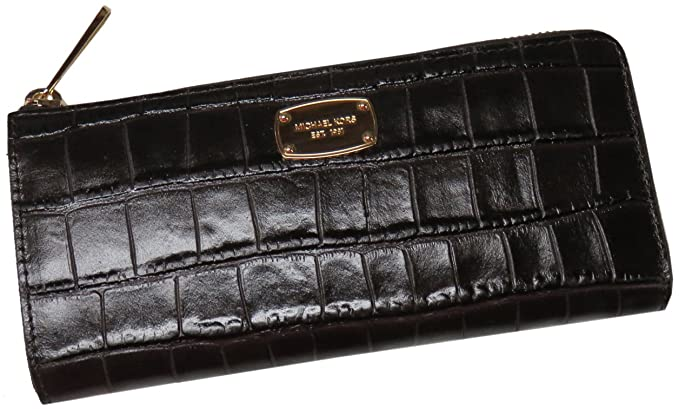 2f0bc20c846c Michael Kors Wallet Bedford Large Three Quarter Zip Leather Dark Chocolate