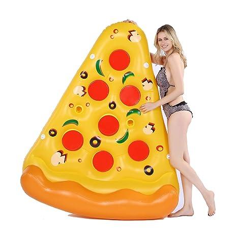 Qwhome Inflable Pizza Slice Novedad Piscina Flotador balsa, Piscina floaties, diversión niños Adulto Nadar