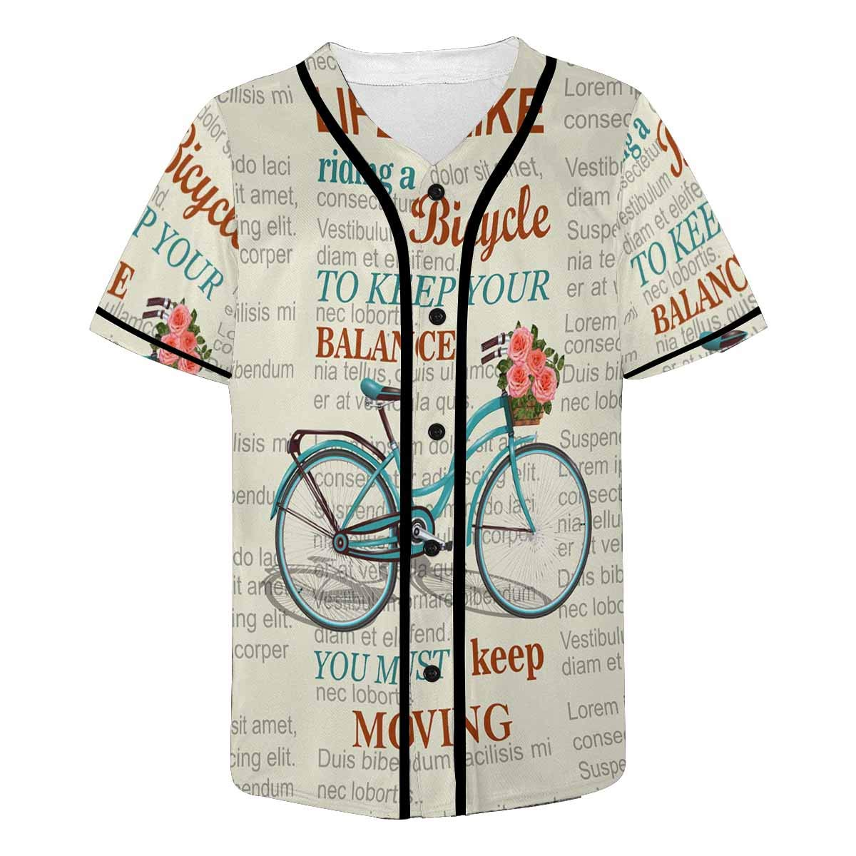 e4640771d8b1 Amazon.com: InterestPrint Baseball Jersey Retro Bicycle with in ...