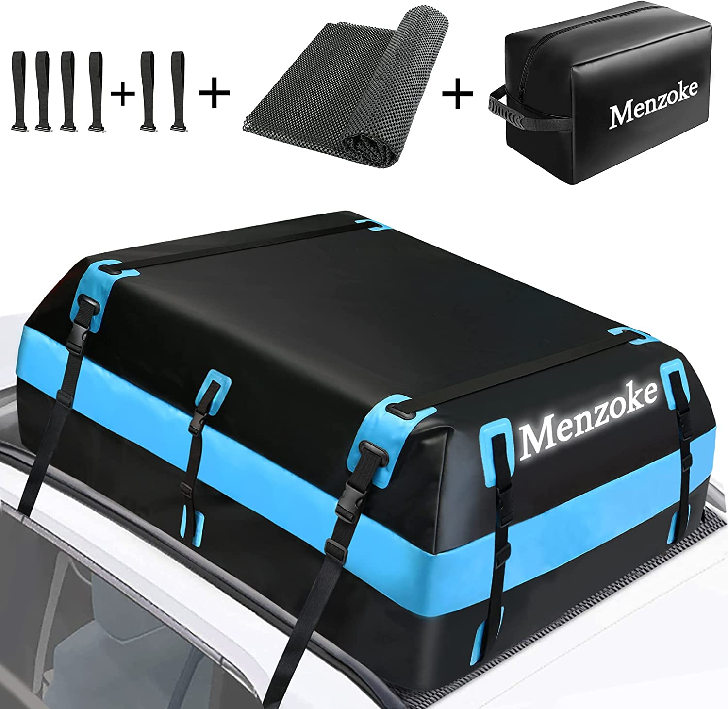 MENZOKE Rooftop Cargo Carrier,15 Cubic Feet Soft-Shell Waterproof Vehicle Cargo Carriers, Car Top Carrier Luggage Carrier with Storage Bag, Anti-Slip Mat for All Vehicle with/Without Rack: Automotive