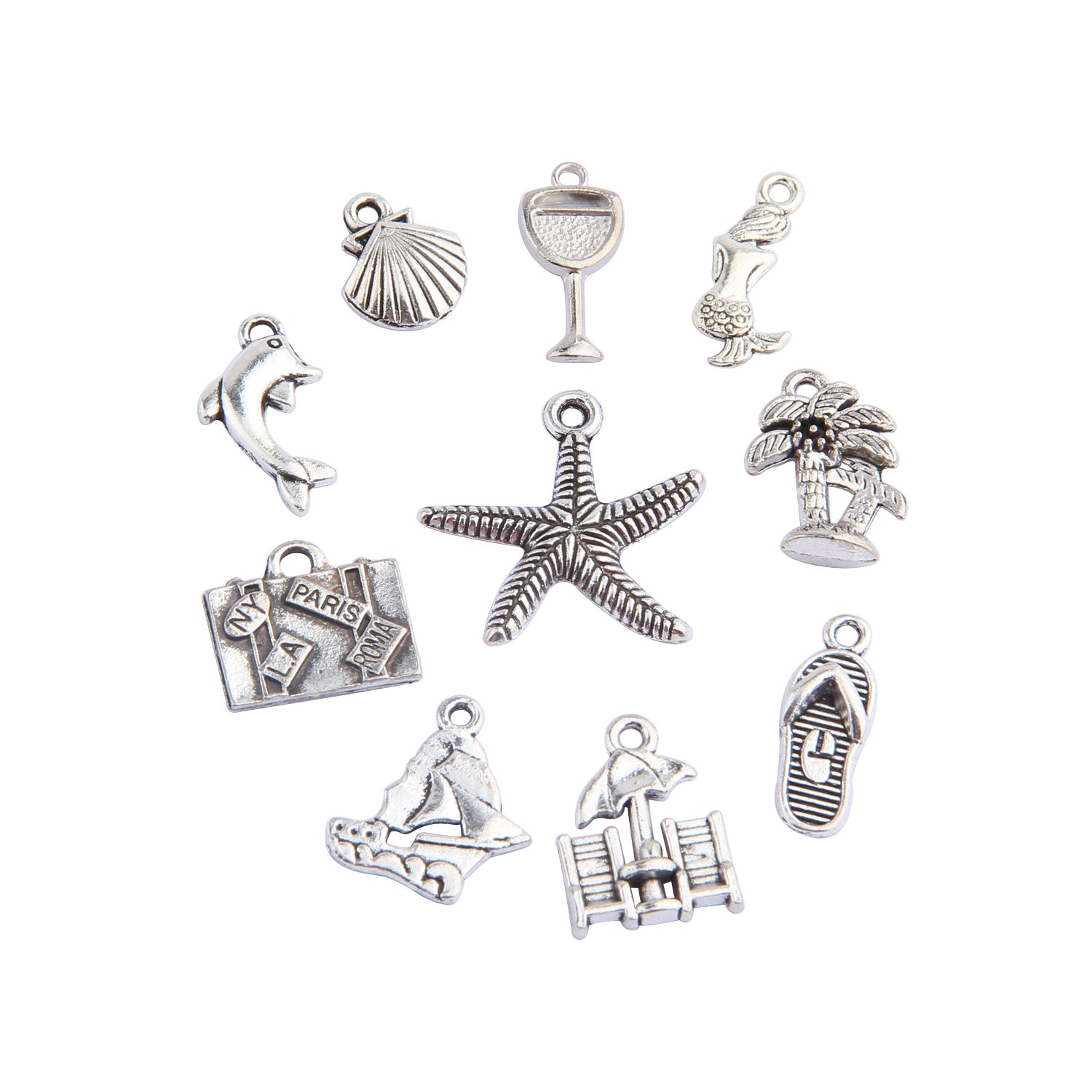 BNQL 20pcs Travel Ocean Animals Assorted Charms DIY Jewelry Making (Ocean)