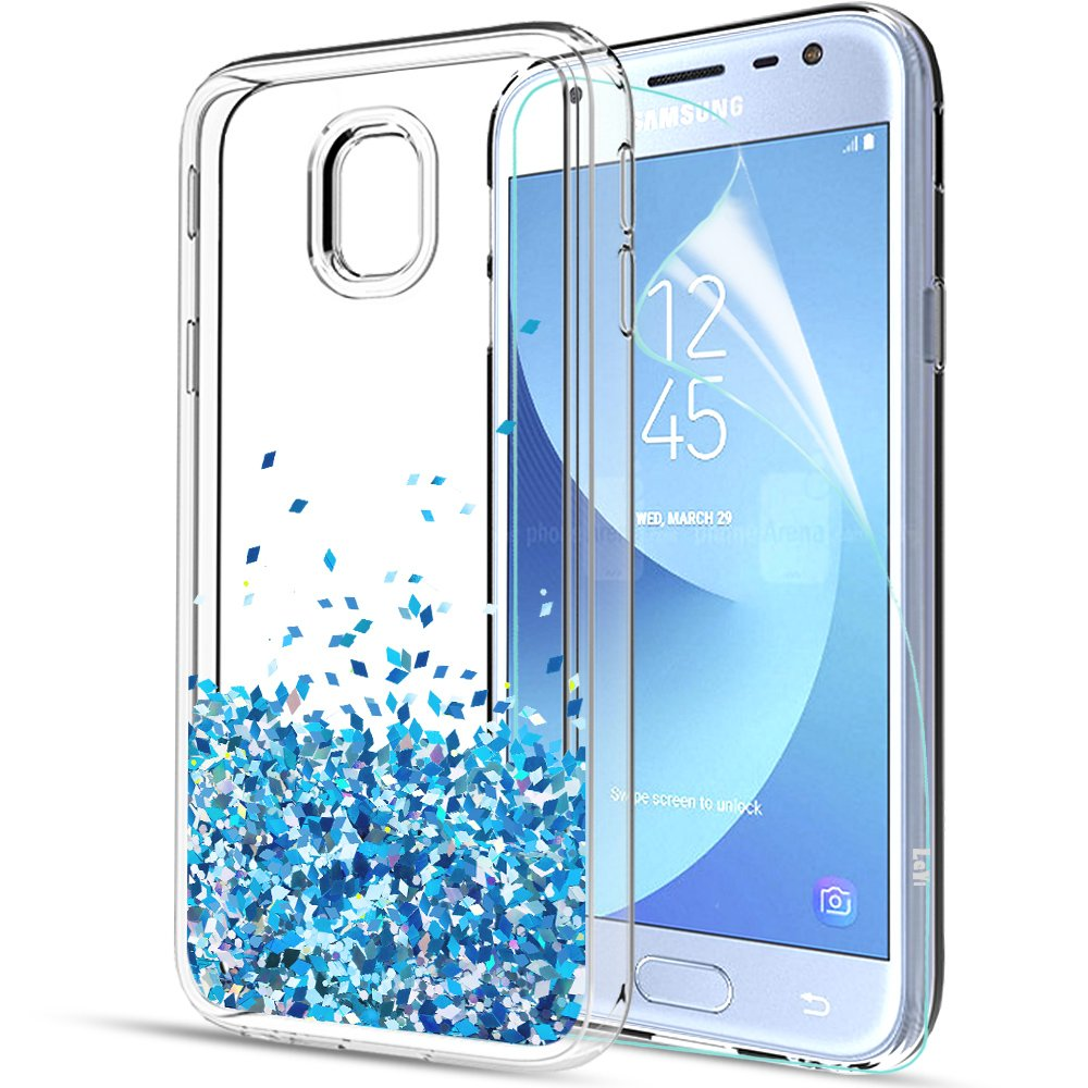 LeYi Compatible with Funda Samsung Galaxy J3 2017 con HD Protectores de Pantalla,Silicona Purpurina Carcasa Transparente Cristal Bumper Telefono Gel TPU ...
