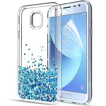LeYi Funda Samsung Galaxy J3 2017 Silicona Purpurina Carcasa con HD Protectores de Pantalla,Transparente Cristal Bumper Telefono Gel TPU Fundas Case ...