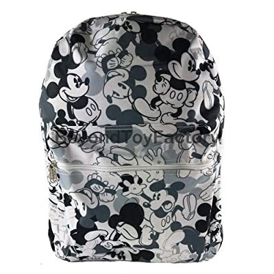 """Disney Mickey Mouse All Over 16"""" Black & White Canvas Back to School Backpack 