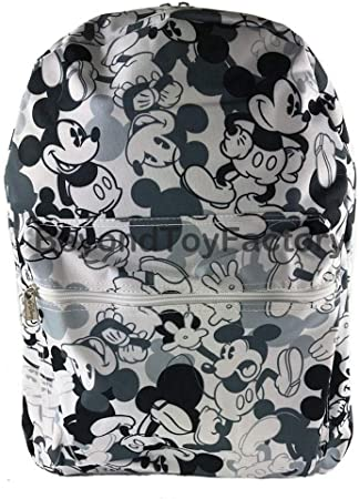"Disney Mickey Mouse Allover Print Black 16/"" Boys Large School Backpack"