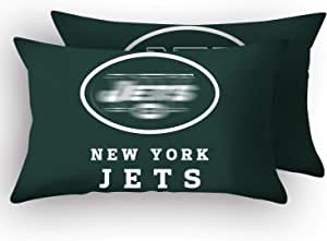 """MT-Sports Football Team Super Bowl Throw Pillow Covers Pillow Cases Two Size Decorative Pillowcase Protecter with Zipper Without Insert Set of 2 (New York Jets, 12"""" x 20"""")"""