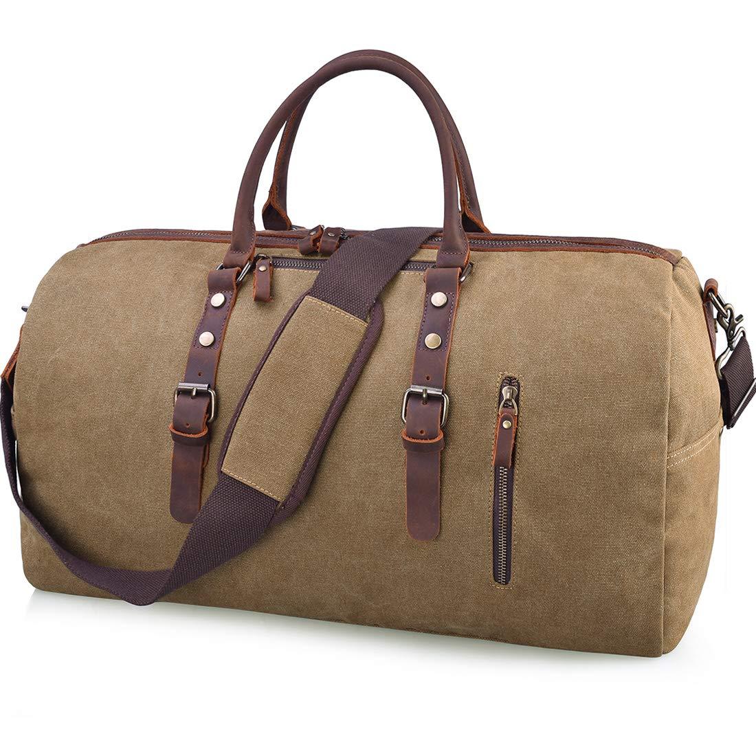 6d46229d7d Amazon.com  Travel Duffel Bag Large Canvas Duffle Bag for Men Women Leather Weekender  Overnight Bag Carryon Weekend Bag Brown  JCX US