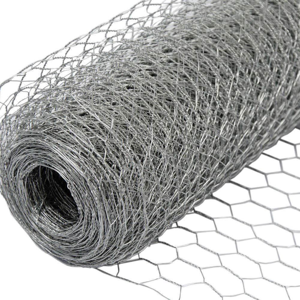 NIEDERBERG METALL Grillage Métallique pour Cloture Maillage Hexagonal : 13x13mm Longueur 25m Hauteur 50cm Clôture pour Animaux et Plantes Galvanisé 0.9mm