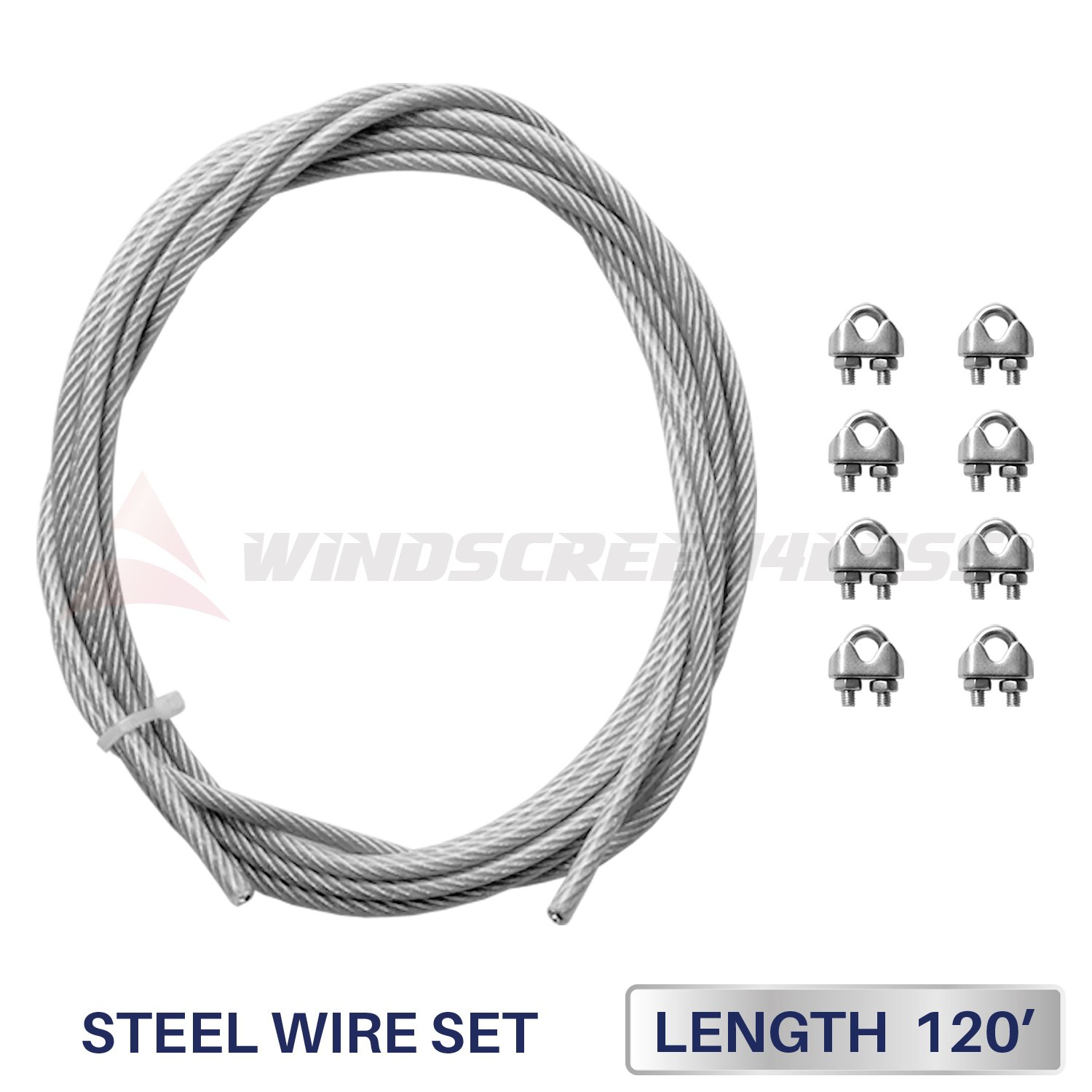 Windscreen4less Shade Sail Wire Rope and 8 Pcs Clips, Vinyl Coated Wire Cable Galvanized Metal Clamp, 3/16-Inch x 120 Feet by Windscreen4less (Image #1)