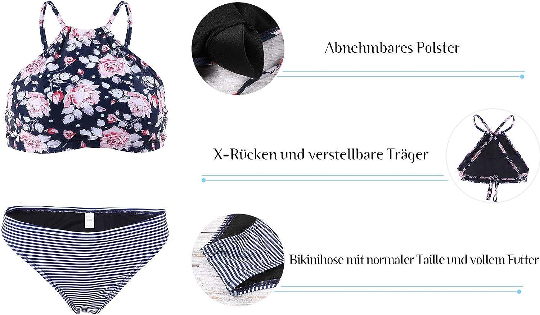 Charmo Damen Hochgeschlossener Bikini Zweiteiler Badeanzug Kreuz R/ücken Bikini Sets Bademode mit Muster