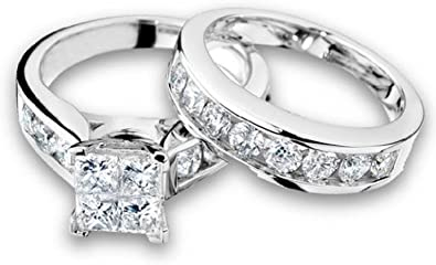 1 2 Carat Ctw Princess Cut Diamond Engagement Rings For Women And Wedding Band Set In 10k White Gold Amazon Com