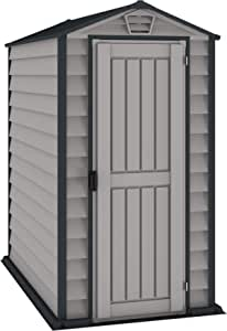 Duramax EverMore 4 x 6 ft Plastic Garden Storage Shed, Adobe & Grey, Fire Retardant & All-Weather Outdoor Storage Solution, Includes Plastic Floor, Strong Structure & Maintenance-Free Vinyl Shed