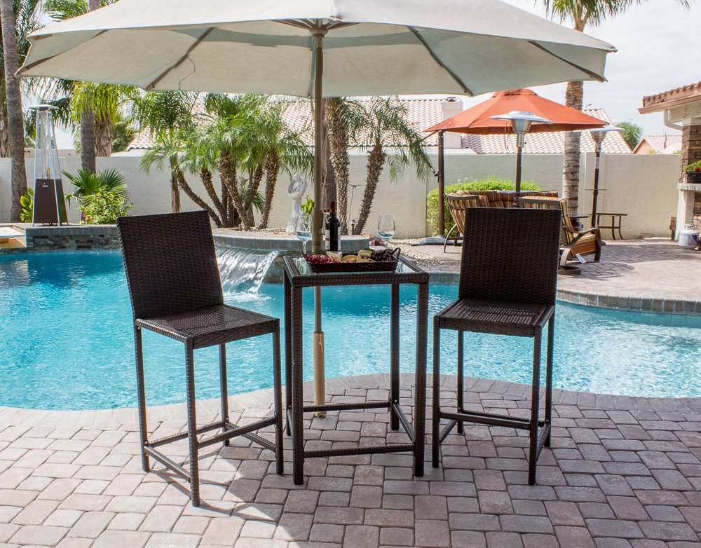 amazoncom az patio heaters patio furniture bar height resin wicker 3 piece set in dark brown outdoor and patio furniture sets patio lawn u0026 garden
