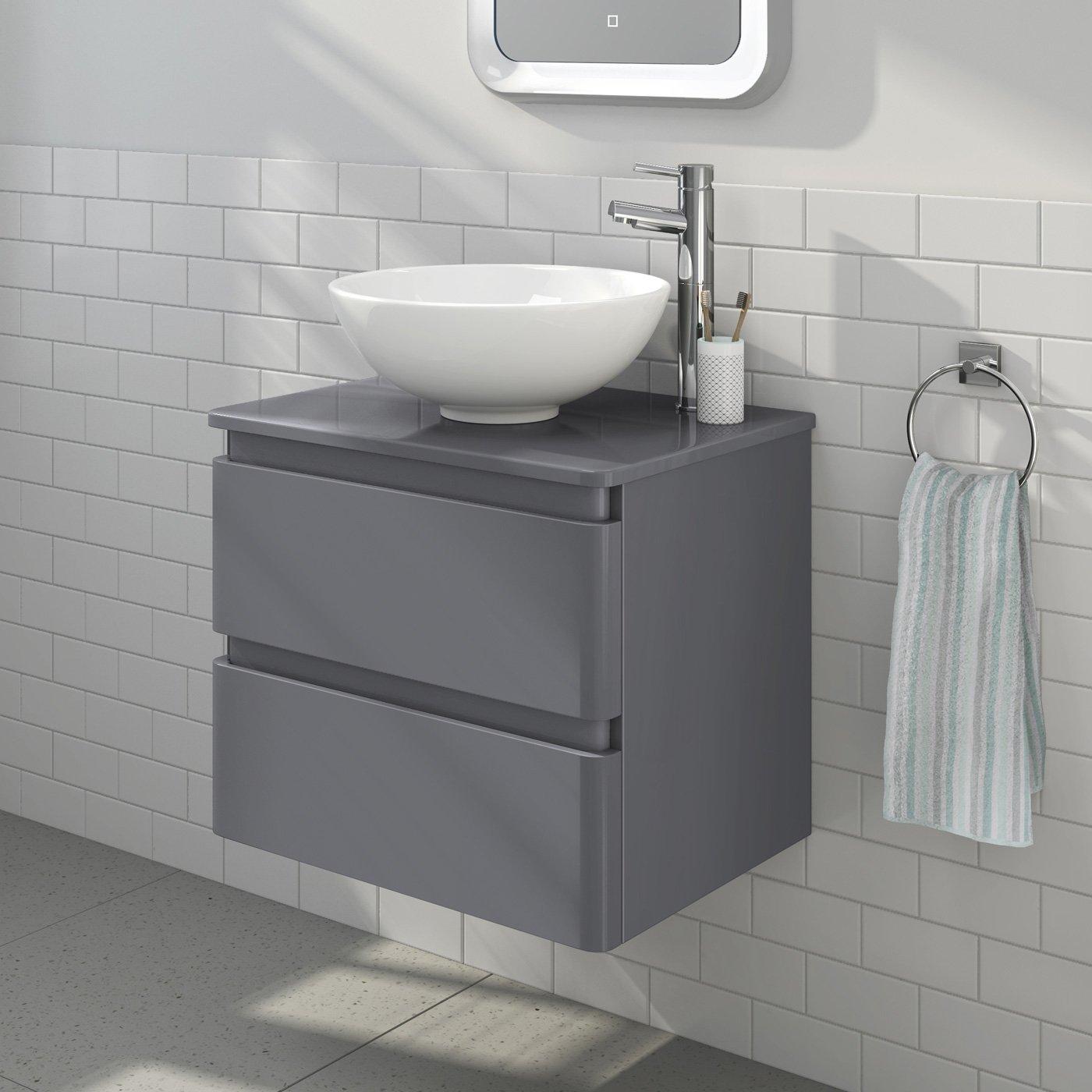 Modern Bathroom Furniture Countertop Basin Storage Unit Wall Hung