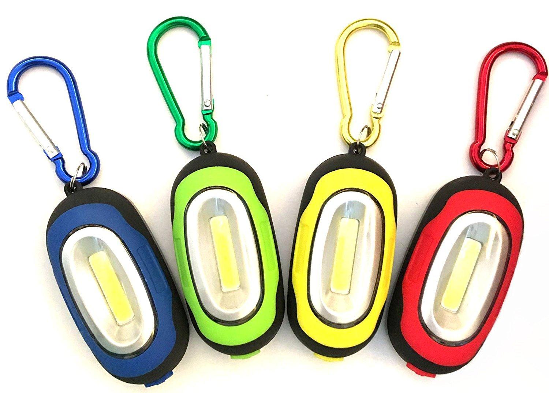 COB LED Schlüsselanhänger Licht mit Magnet NHSUNRAY Magnetische Taschenlampe mit Karabiner, tragbar und Mini Größe, 4 verschiedene Farben