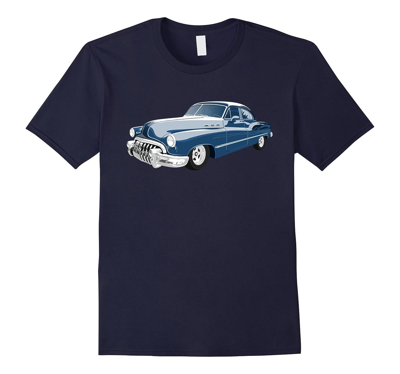 Blue 1950s Vintage Car Classic T-Shirt Tee Shirt-FL