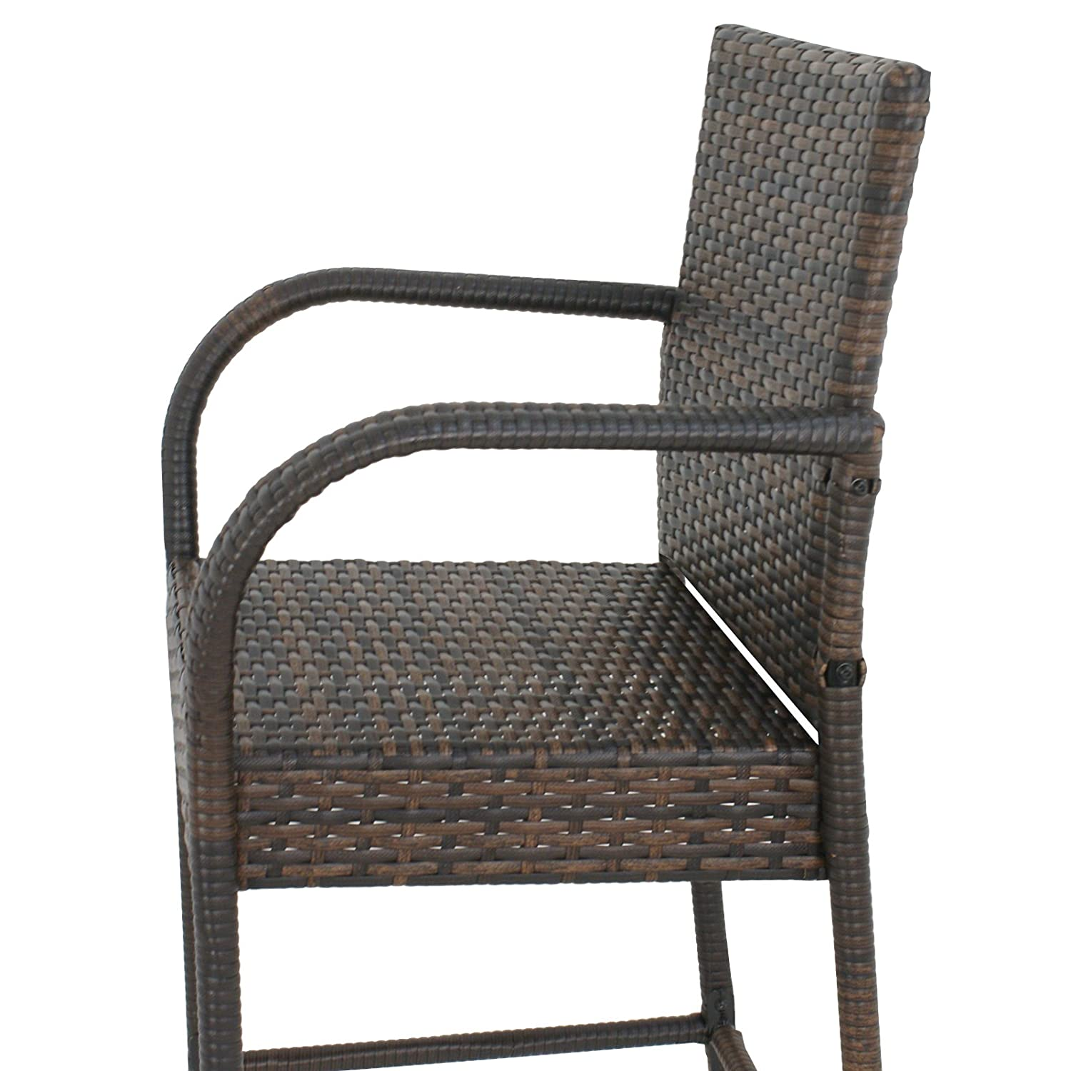 BBBuy Wicker Bar Stool Outdoor Backyard Chair Patio Furniture with Armrest